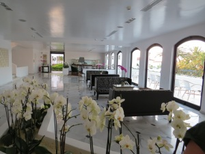 Seitenteil der Lobby mit vielen Orchideen